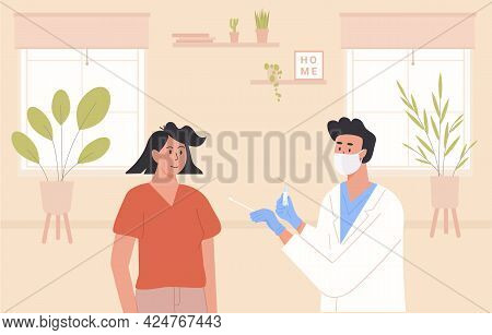 A Doctor Or Male Nurse Wearing Face Mask And Latex Gloves Taking Nasal Pcr Swab Test From Woman Pati