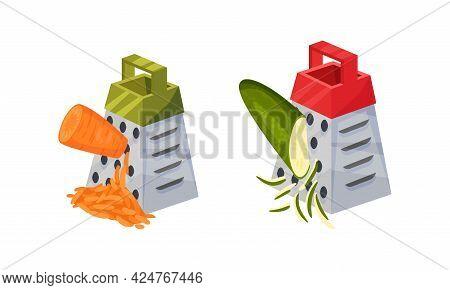 Grater Or Shredder Grating Vegetable Into Fine Pieces Vector Set