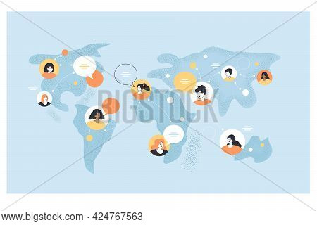 World Map With People Of Different Cultures Talking. Men And Women Making Friends Worldwide Through
