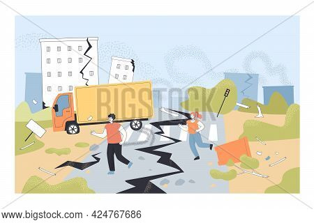 Destruction Of Ground And Buildings. Houses Collapsing, People Running Home Catastrophe Flat Vector