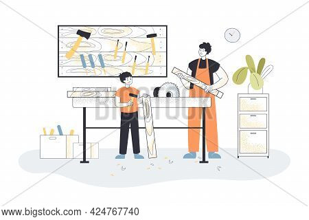 Father And Son In Workshop. Dad And Boy Using Carpentry Tools, Garage Interior Flat Vector Illustrat