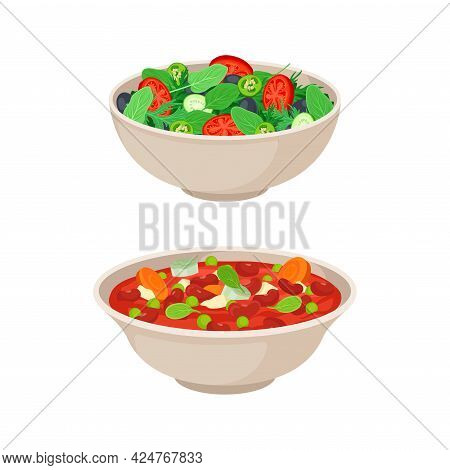 Vegan Dish And Main Course With Stewed Beans And Salad Vector Set