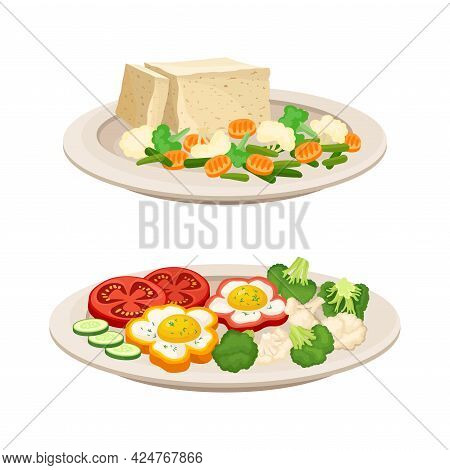 Vegan Dish And Main Course With Vegetables And Tofu Cheese Vector Set