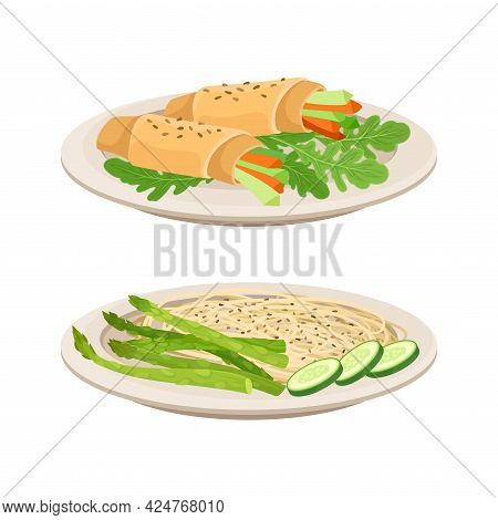 Vegan Dish And Main Course With Noodle And Vegetable Wrap Vector Set