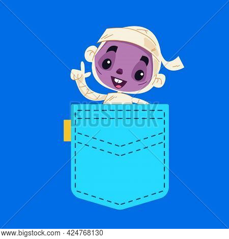 The Mummy Peeks Out Of A Blue Pocket And Waves A Hand. Halloween Monster In Your Pocket. Vector Illu