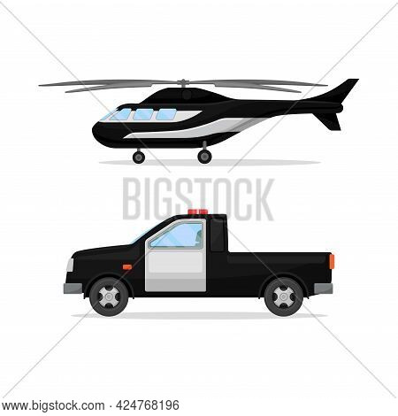 Police Car And Helicopter Or Radio Patrol Vehicle Vector Set