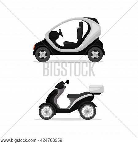 Police Scooter And Motorcycle As Radio Motor Patrol Vehicle Vector Set