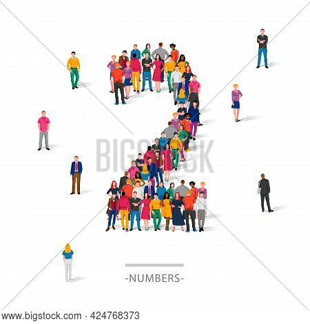 A Large Group Of People Is Standing In Colored Clothes In The Shape Of The Number 2. The Concept Of