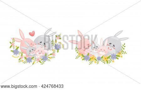 Rabbit Family With Bunny Mom And Dad Embracing Their Cub Sitting In Floral Arrangement Vector Set