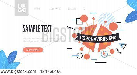 Virus Cell With Coronavirus End Ribbon Victory Over Corona Virus Pandemic Quarantine Covid-19 Is End