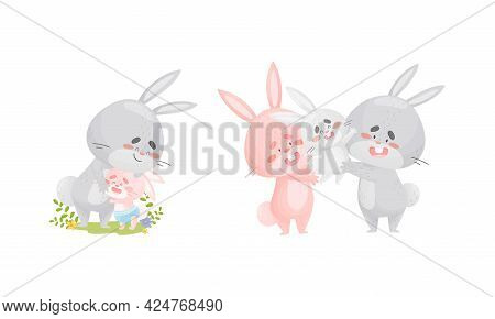 Rabbit Family With Bunny Mom And Dad Embracing Their Cub Vector Set