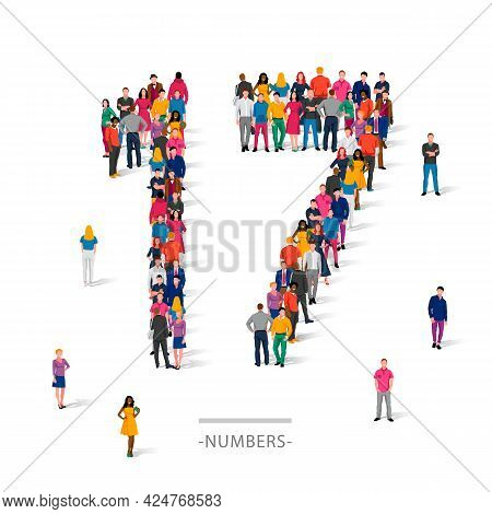 A Large Group Of People Is Standing In Colored Clothes In The Shape Of The Number 17. The Concept Of