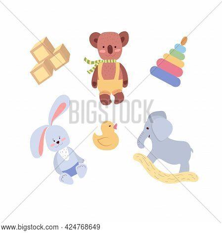 Toys For Children's Rooms, Nursery, Kindergarten, Children's Room Set Of Vector Illustrations On A W