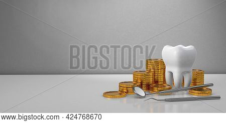 Gold Coins Money And A Tooth With A Dental Mirror. Expensive Dental Treatment. Dental Insurance. Cop