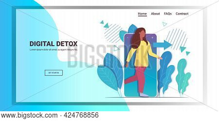 Woman Coming Out Of Cellphone Digital Detox Concept Girl Escaping From Digital Addiction