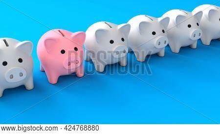 Piggy Bank Leader. White Piggy Banks And One Pink Piggy Bank. Blue Background. 3d Render