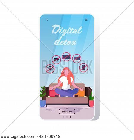 Woman Sitting Lotus Pose Gadgets In Red Prohibition Signs Digital Detox Rest From Devices Concept