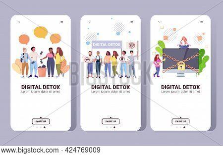 Set People Spending Time Without Devices Digital Detox Concept Women Men Abandoning Gadgets