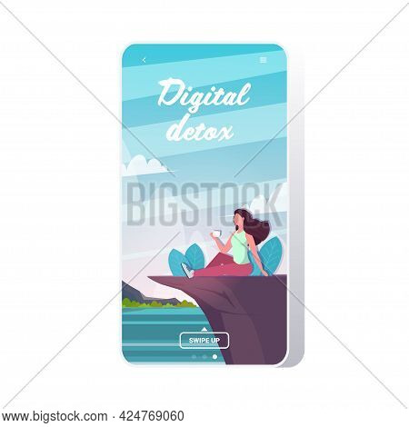 Woman Drinking Coffee Sitting On Mountain Cliff Digital Detox Concept Girl Resting From Gadgets