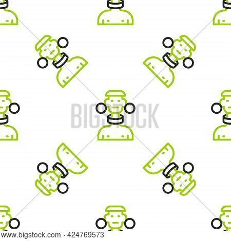 Line African Tribe Male Icon Isolated Seamless Pattern On White Background. Vector