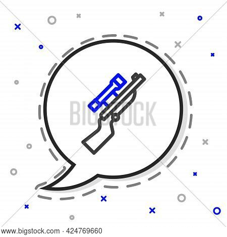 Line Sniper Rifle With Scope Icon Isolated On White Background. Colorful Outline Concept. Vector