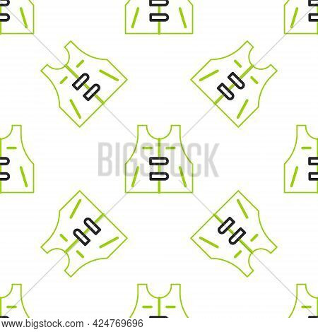 Line Hunting Jacket Icon Isolated Seamless Pattern On White Background. Hunting Vest. Vector
