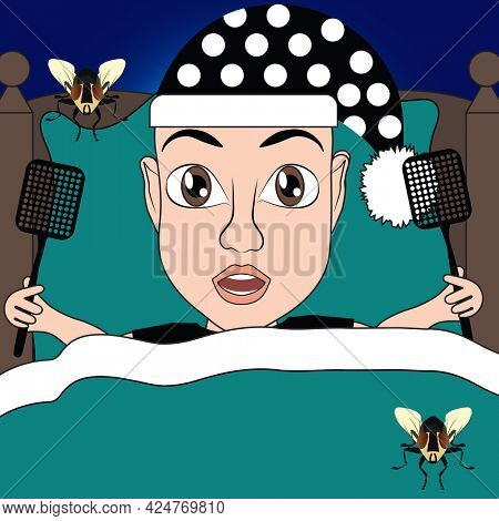 Teal for Ovarian Cancer Bald Woman In Bed at Night