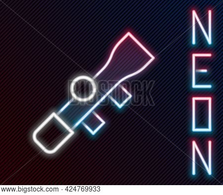 Glowing Neon Line Sniper Optical Sight Icon Isolated On Black Background. Sniper Scope Crosshairs. C