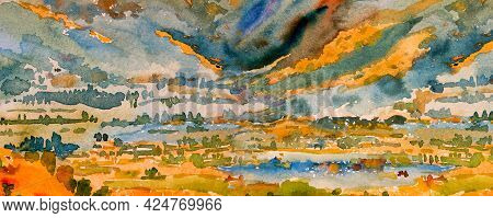 Abstract Watercolor Painting Panorama Colorful Of Mountain Natural Yellow Blue Green Brush Stroke, S