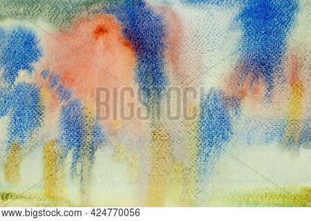 Abstract Watercolor Contemporary Paint Yellow- Pink- Blue Brush Ink, Splash Stroke Stain Flow.  Art