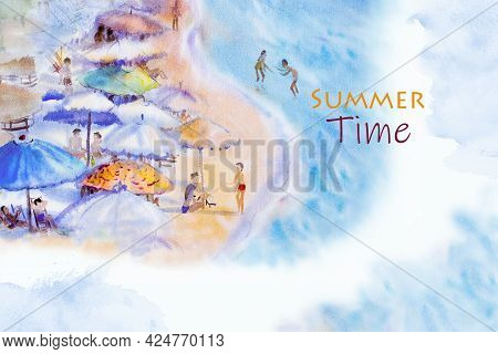 Summer Time - Abstract Watercolor Seascape Painting Colorful Of Family Vacation And Tourism In An At
