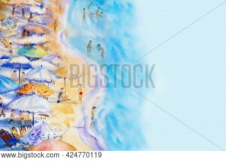 Abstract Watercolor Seascape Painting Colorful Of Family Vacation And Tourism In An Atmosphere Of Fu