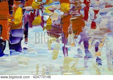 Abstract Art Background. Original Oil Painting On Canvas. Fragment Of Artwork. Brushstrokes Of Paint
