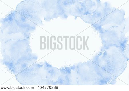 Abstract Frame Watercolor Paint Blue Sea Wave Brush Ink, Splash Stroke Stain Drop. Abstract Art Illu