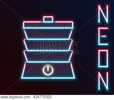 Glowing Neon Line Slow Cooker Icon Isolated On Black Background. Electric Pan. Colorful Outline Conc