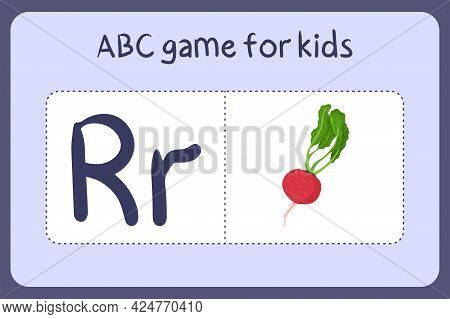 Kid Alphabet Mini Games In Cartoon Style With Letter R - Radish . Vector Illustration For Game Desig