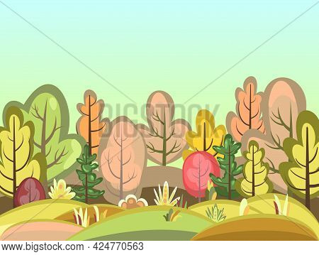 Flat Autumn Forest. Landscape With Trees. Glade. Illustration In A Simple Symbolic Style. A Funny Sc