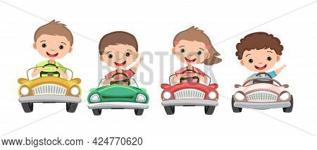 Set. Children Drive A Car. Kids. Childrens Pedal Or Electro Automobile. Cabriolet. Toy Vehicle. With