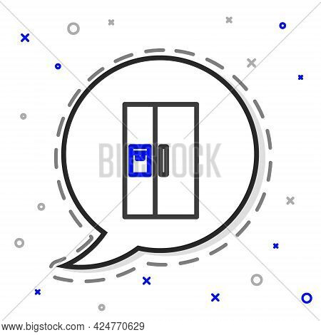Line Refrigerator Icon Isolated On White Background. Fridge Freezer Refrigerator. Household Tech And