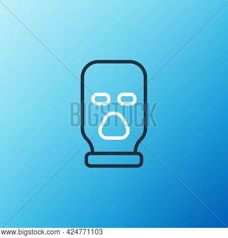 Line Balaclava Icon Isolated On Blue Background. A Piece Of Clothing For Winter Sports Or A Mask For