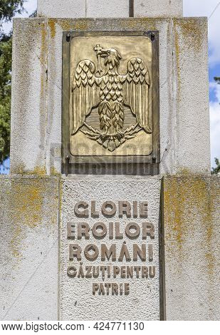 Oarba De Mures, Mures, Romania - May 30, 2021:  Monument To Romanian Heroes Of World War Ii On May 3