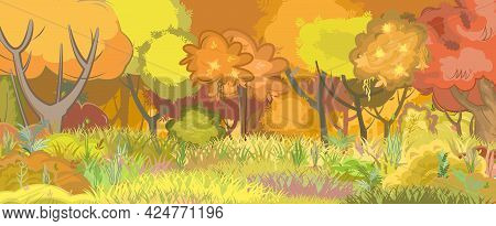 Forest Autumn Meadow. Green, Yellow, Orange And Red Trees. Edge With Grass. Glade. Beautiful And Gra