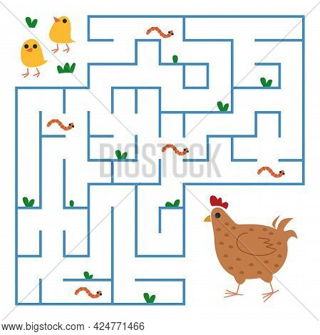 Chicks Toddlers Are Looking For A Way To The Mother Hen Through The Maze. Square Maze With Animals F