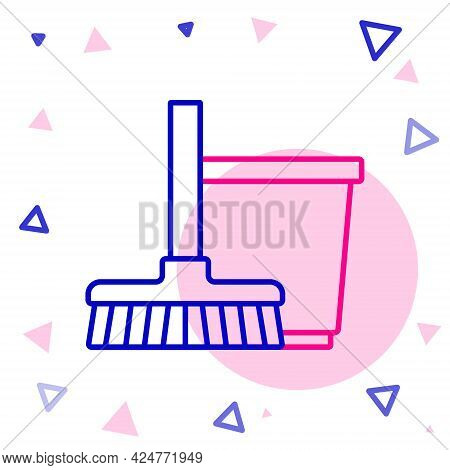 Line Mop And Bucket Icon Isolated On White Background. Cleaning Service Concept. Colorful Outline Co