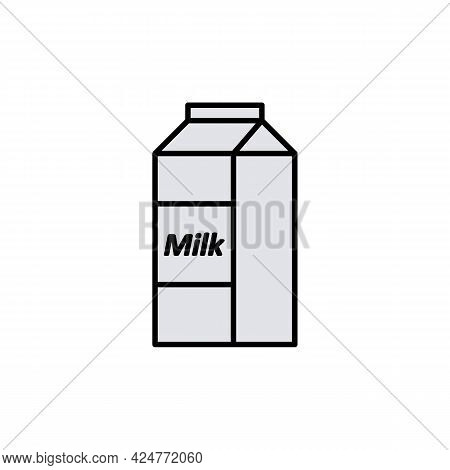 Packaging Container Or Milk Pack Papercut Icon. Milk Carton Box Or Packet Paper Box. Isolated Outlin