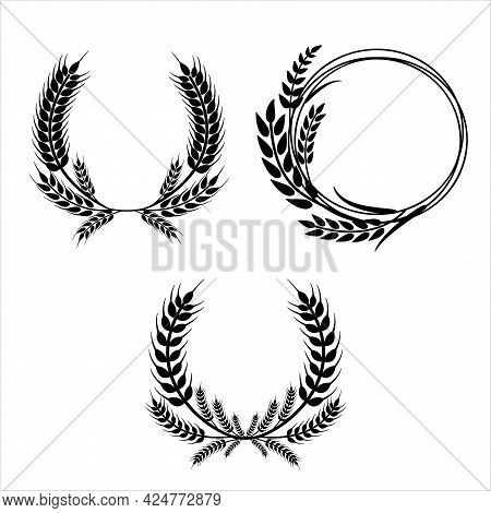 Wheat Wreaths And Grain Spikes Set Icons. Vector Illustration Isolated On White