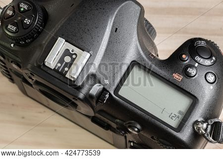 Dslr Camera Overhead View, Second Lcd Display On The Top, Switched Off State. Mode Dials And Hot Sho