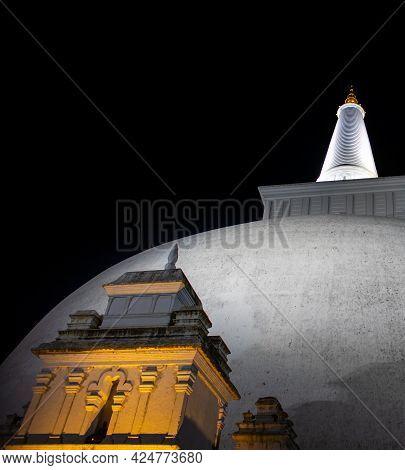 Ruwanweli Maha Seya Stupa Glowing In The Night.