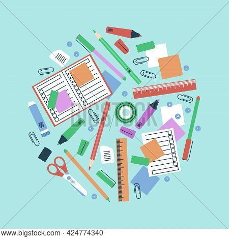Stationery In A Circle Composition For School Items. Stationery - Pens, Pencils, Scissors, Glue, Fel