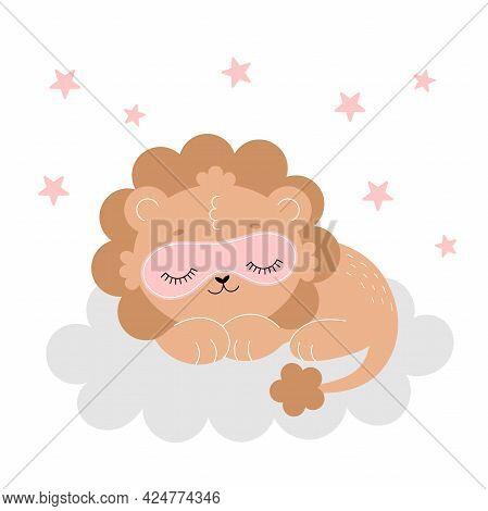 A Cute Lion Sleeps On A Cloud Wearing A Sleep Mask. Poster For The Nursery, Postcard, Nursery Decora